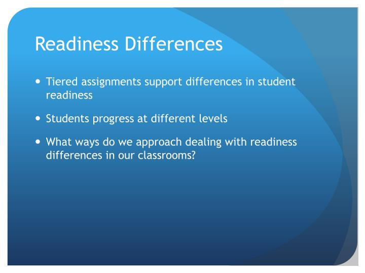 Readiness Differences