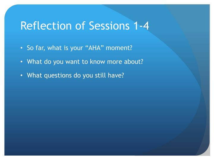 Reflection of Sessions 1-4