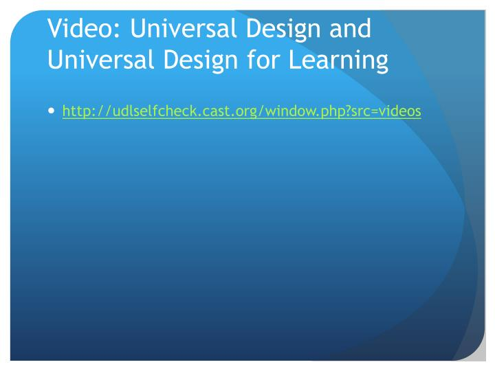 Video: Universal Design and Universal Design for Learning