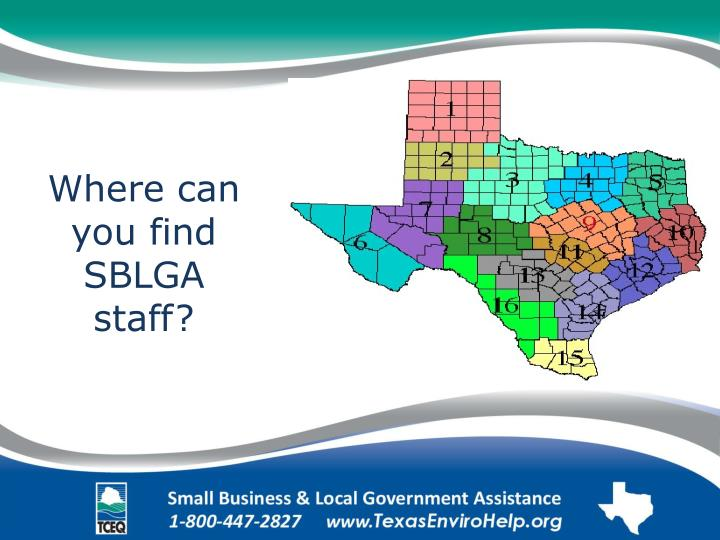 Where can you find SBLGA staff?