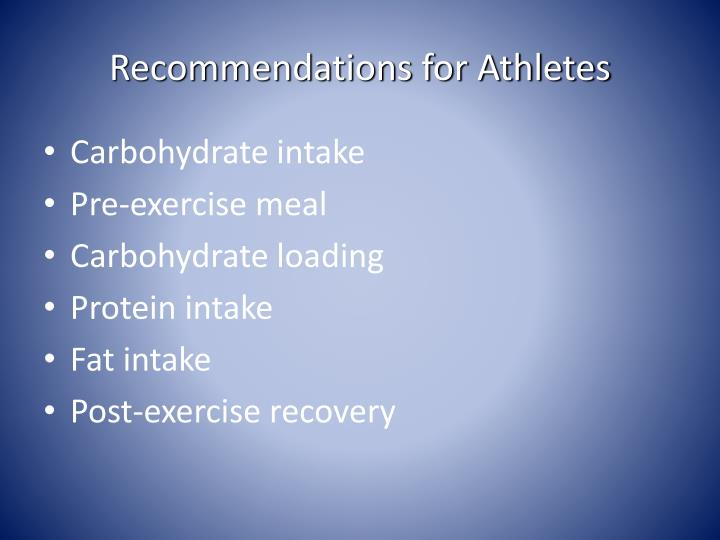 Recommendations for Athletes