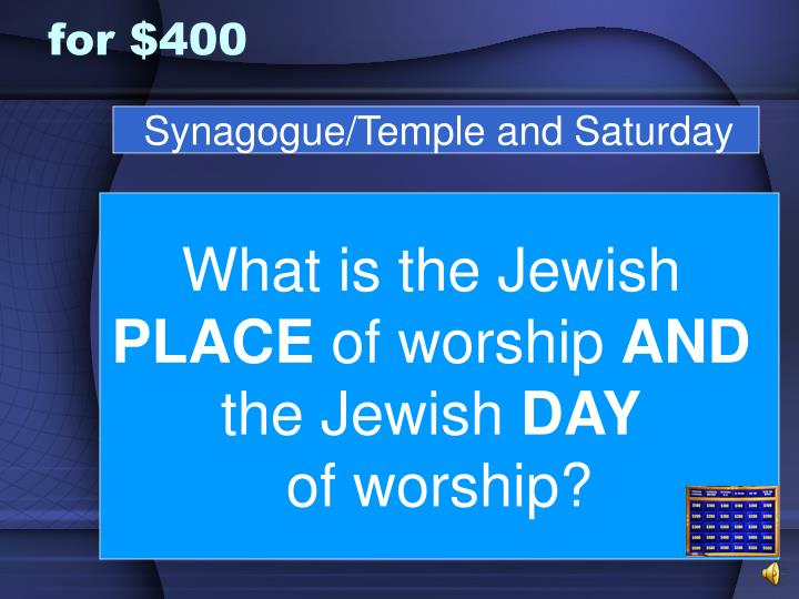 Synagogue/Temple and Saturday