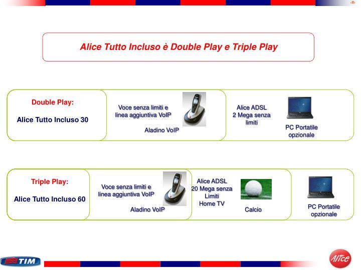 Alice Tutto Incluso è Double Play e Triple Play