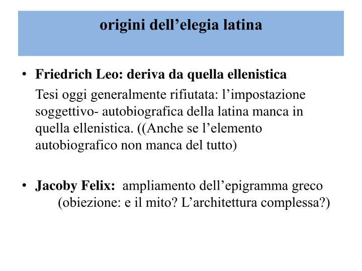 origini dell'elegia latina