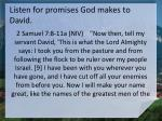 listen for promises god makes to david