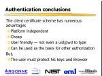 authentication conclusions