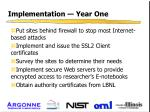 implementation year one