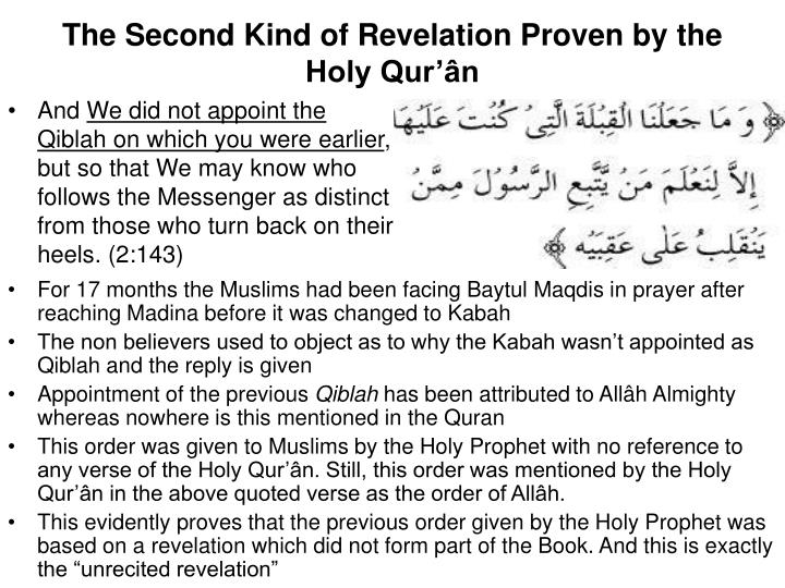 The Second Kind of Revelation Proven by the Holy Qur'ân