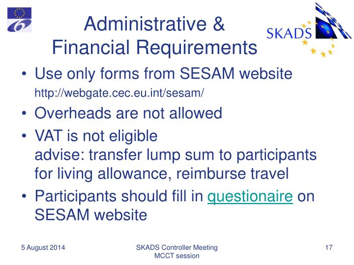 Administrative & Financial Requirements