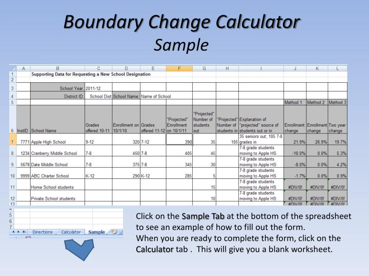 Boundary Change Calculator