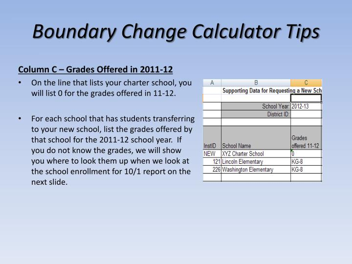 Boundary Change Calculator Tips