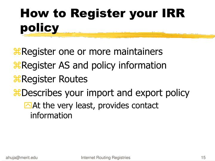 How to Register your IRR policy
