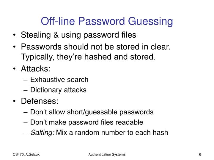 Off-line Password Guessing