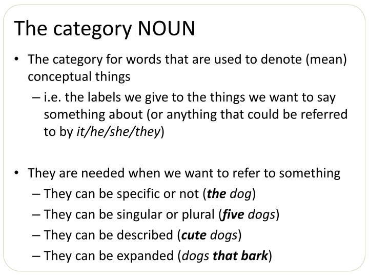 The category NOUN