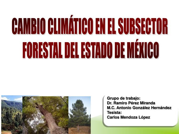 CAMBIO CLIMÁTICO EN EL SUBSECTOR