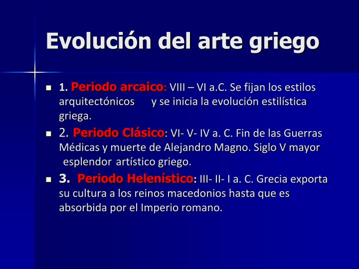 Evolución del arte griego