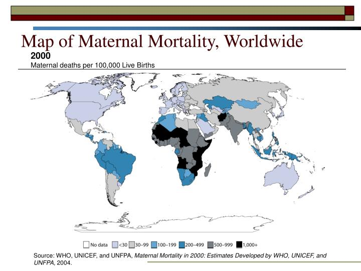 Map of Maternal Mortality, Worldwide