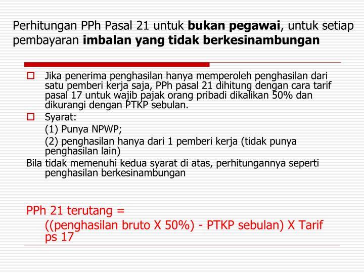 Perhitungan PPh Pasal 21 untuk