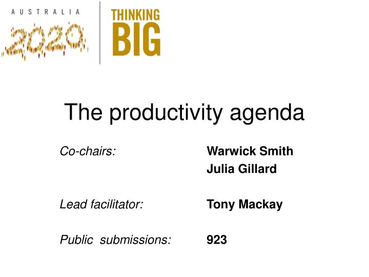 The productivity agenda
