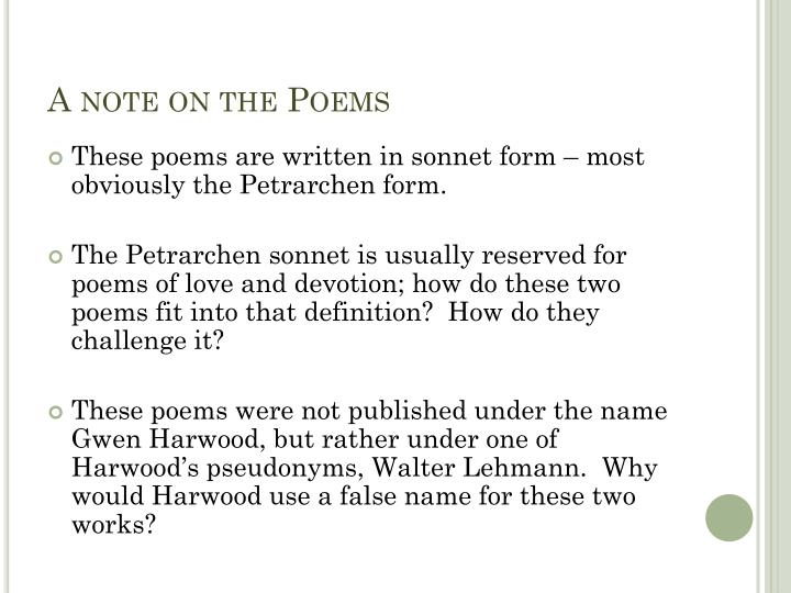 A note on the Poems