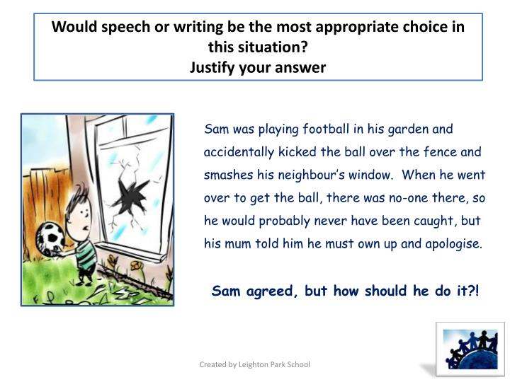 Would speech or writing be the most appropriate choice in this situation?