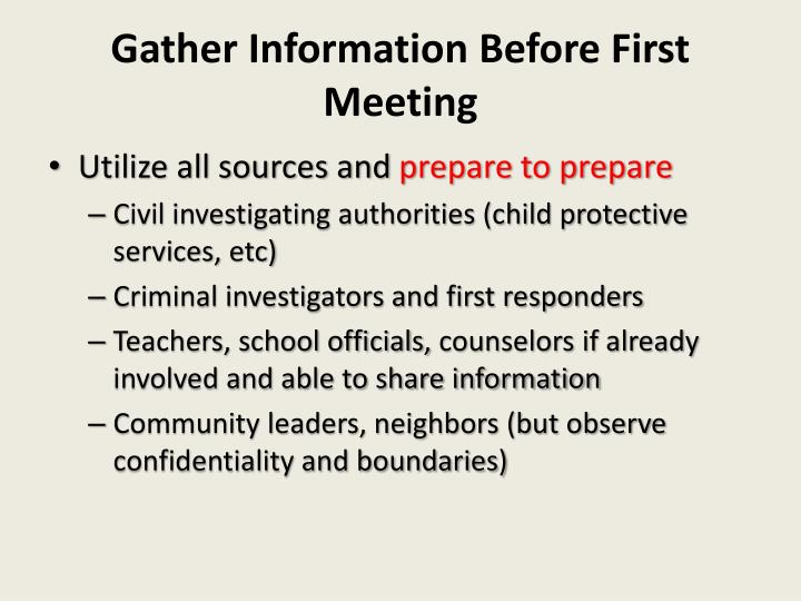 Gather Information Before First Meeting