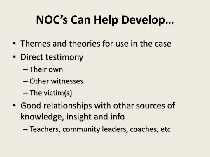 NOC's Can Help Develop…