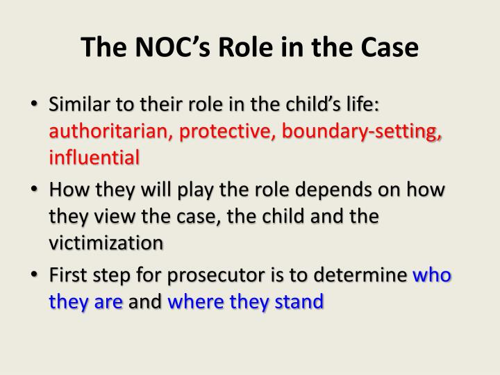 The NOC's Role in the Case