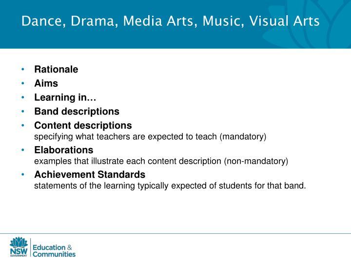 Dance, Drama, Media Arts, Music, Visual Arts