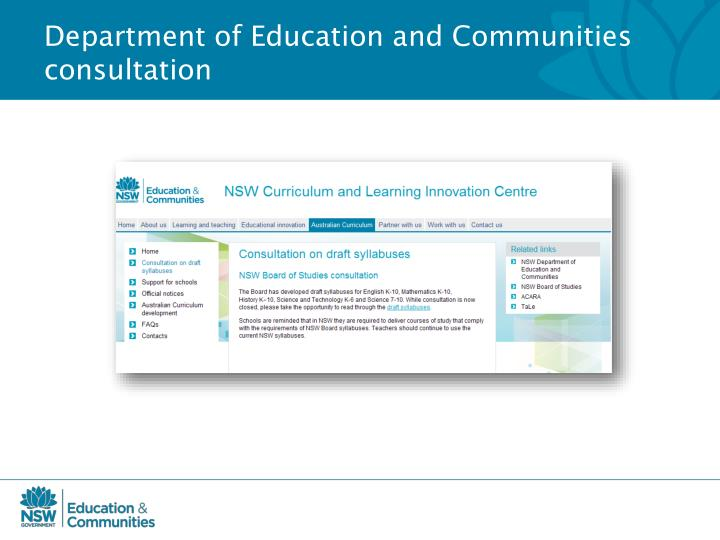 Department of Education and Communities consultation