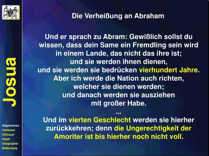Die Verheißung an Abraham