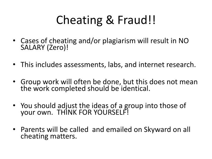 Cheating & Fraud!!