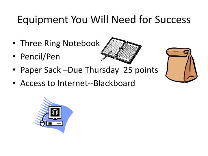 Equipment You Will Need for Success