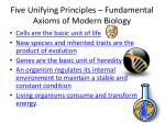 five unifying principles fundamental axioms of modern biology