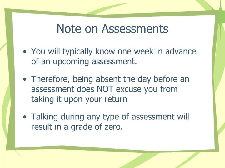 Note on Assessments