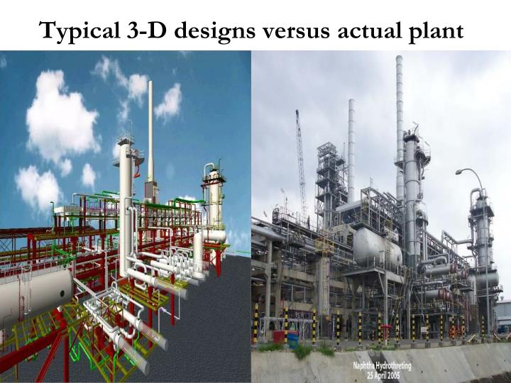 Typical 3-D designs versus actual plant