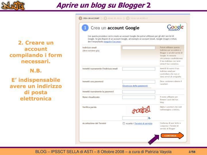 Aprire un blog su Blogger