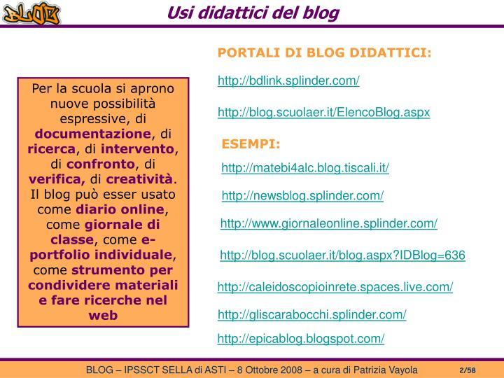 Usi didattici del blog