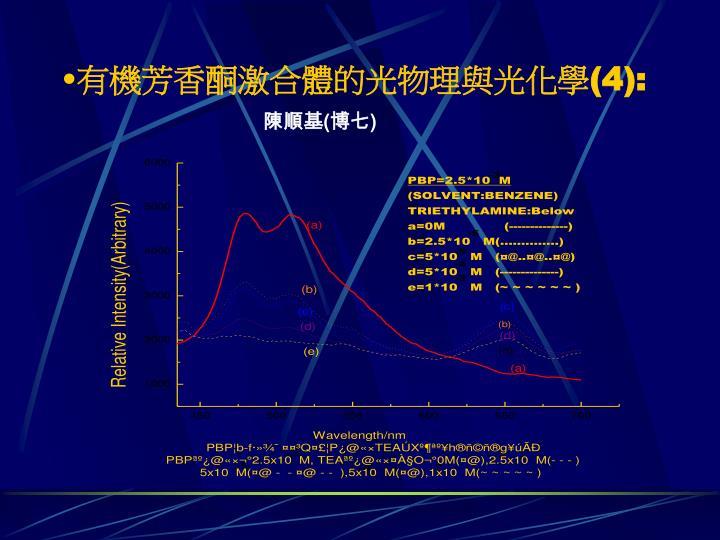 有機芳香酮激合體的光物理與光化學(4)