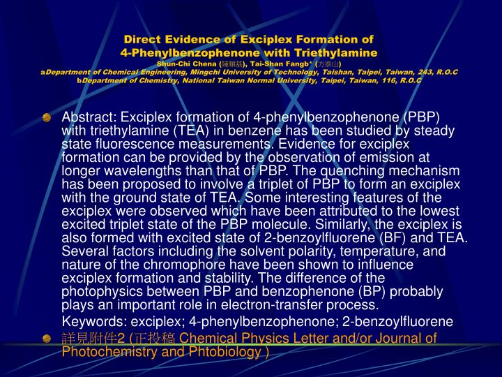 Direct Evidence of Exciplex Formation of