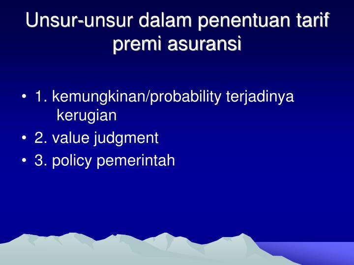 Unsur-unsur dalam penentuan tarif premi asuransi