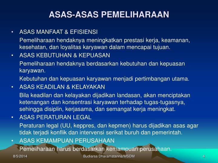 ASAS-ASAS PEMELIHARAAN