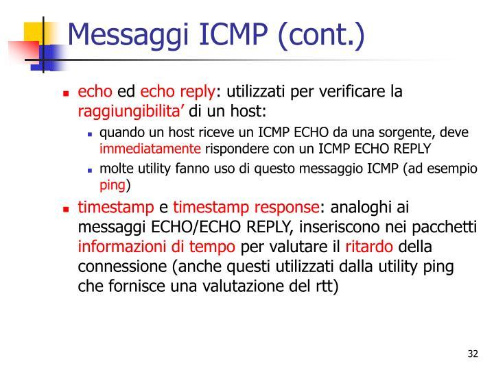 Messaggi ICMP (cont.)