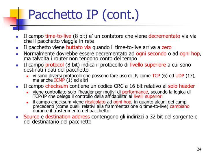 Pacchetto IP (cont.)