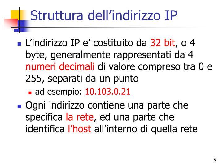 Struttura dell'indirizzo IP