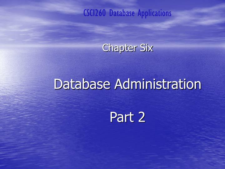 CSCI260 Database Applications