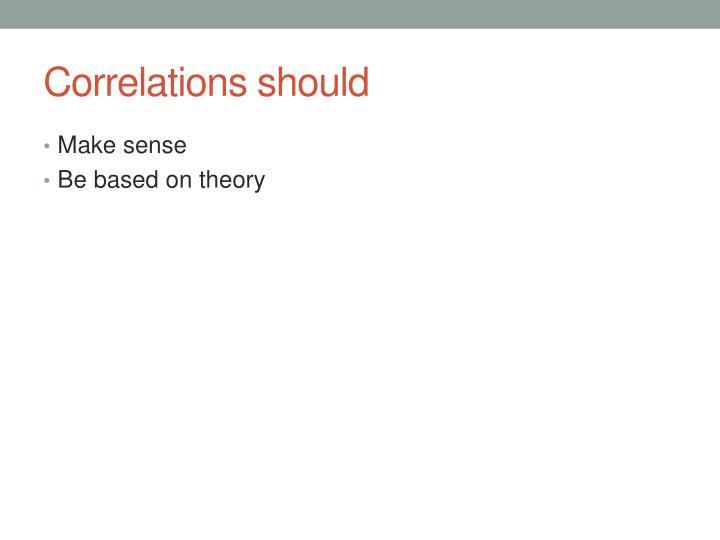 Correlations should