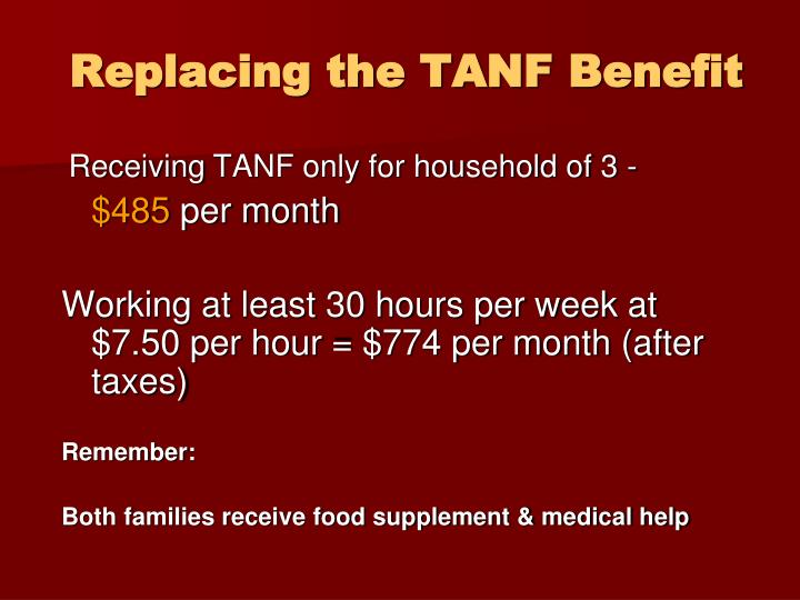 Replacing the TANF Benefit