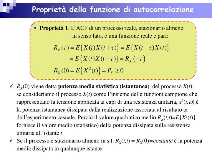 Proprietà della funzione di autocorrelazione