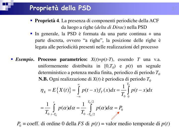 Proprietà della PSD